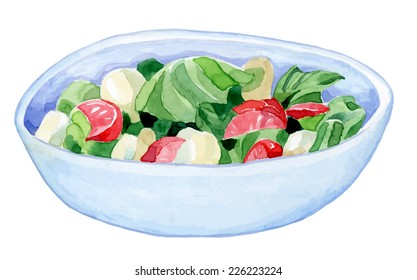 bright handmade bowl with a colorful salad - cucumber tomato salad leaves - healthy food- watercolor vector drawing