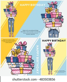 Bright Happy birthday horizontal card, poster, flyer or banner collection. Young woman in jeans holding a lot of gifts in boxes. Happy birthday text. Hand drawn festive fashion illustration