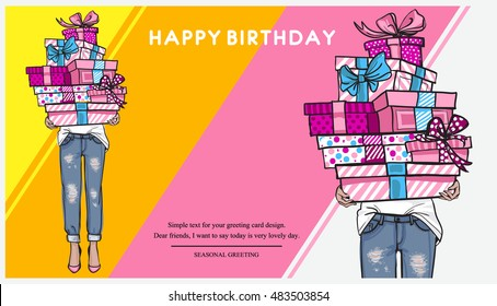 Bright Happy birthday horizontal card, poster, flyer or banner. Young woman in jeans holding a lot of gifts in boxes. Happy birthday text. Hand drawn festive fashion illustration