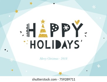 Bright Happy Holidays background. Corporate greeting card with bold typographic design, golden glitter Christmas tree and stars. Horizontal template.  Vector illustration.