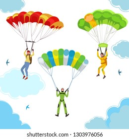 Bright happy skydivers in the sky with clouds. People in flight with birds, In the vector picture in a cartoon style.