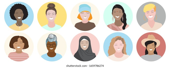 Bright happy smiling women face portraits set. Round frame. Diverse races and nationalities, multicultural, international group, team. Female users avatar icons vector illustration. Flat style design.