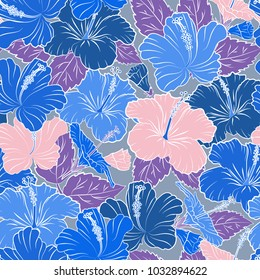 Bright hawaiian seamless pattern with blue and white tropical hibiscus flowers.