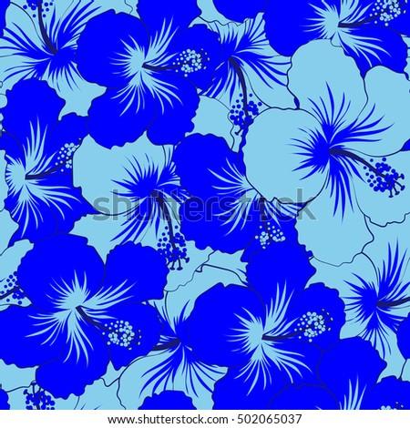 Bright Hawaiian Seamless Pattern Blue Tropical Stock Vector Royalty
