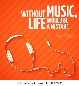 Bright headphones music wallpaper background vector illustration