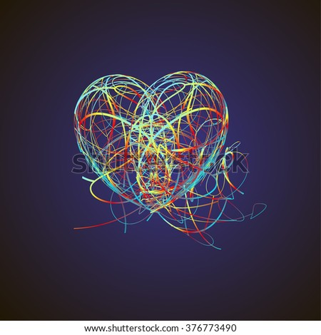 Bright Heart Colored Lines Isolated On Stock Vector Royalty