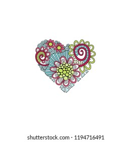 Bright heart doodle illustration with flowers, swirls and abstract shapes.
