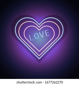 Bright heart. Neon sign. Neon heart sign board with the word love. Design element for valentines day. Vector illustration