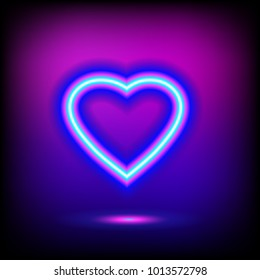 Bright heart. Neon sign. Retro neon heart. Ready for your design, greeting card, banner.