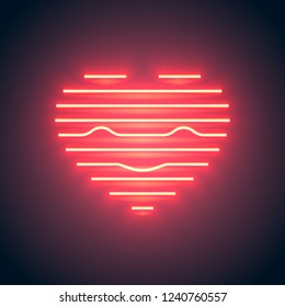 Bright heart. Neon sign. Retro neon heart sign with smile on purple background. Design element for Happy Valentine's Day. Ready for your design, greeting card, banner. Vector illustration.