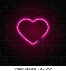 Bright heart. Neon sign. Retro neon heart sign on brick wall background. Design element for Happy Valentine's Day. Ready for your design, greeting card, banner. Vector illustration.