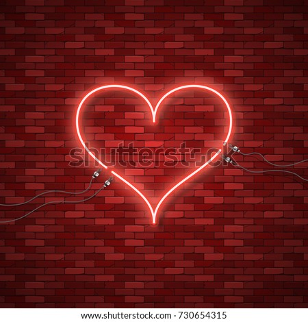 Bright Heart Neon Sign Retro Blue Stock Vector Royalty Free
