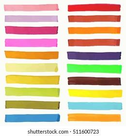 Bright highlight brightly scribble banner, stylish borderline marks, marker strokes vector set. Colored borderline set, illustration of marker borderline