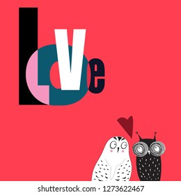Bright holiday card with owls in love isolated on red background