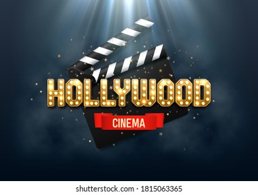 Helles Hollywood-Schild mit Klappbrett. Filmbanner oder Poster im Retro-Stil. Vektorgrafik.