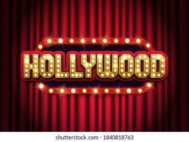 Bright Hollywood sign with a curtain. Movie banner or poster in retro style. Vector illustration.