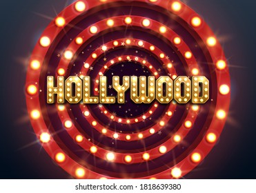 Bright Hollywood sign with a retro billboard. Movie banner or poster in retro style. Vector illustration.