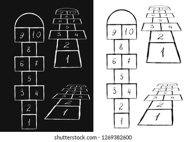 Bright hopscotch template. illustration.Black on white, white on black