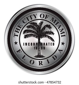 Bright icon with the symbol of the city of Miami in Florida.