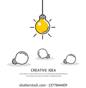 Bright idea and Bulb Lamp Icon Vector