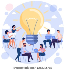 Bright idea  development landing page flat design concept with business people and light bulb Vector illustration  of innovation idea and creative modern business