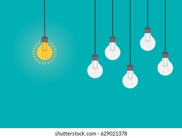 Bright idea and insight concept with light bulb.  Flat style vector illustration.