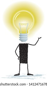 A bright idea, isolated on white background. Illustration of a stick figure whose head is a light bulb. A person with bright ideas.