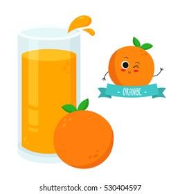 Bright illustration of glass of orange juice with fruit character badge isolated on white
