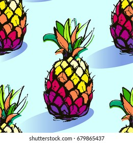 Bright Illustration of Pineapple fruits in seamless pattern on blue isolated background in Vector. Tropical exotic pattern with vivid hand drawn pineapples