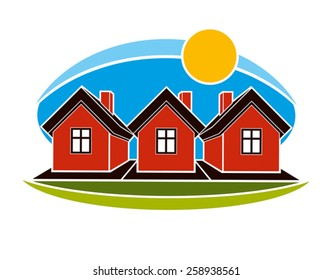 Bright illustration of simple country houses on sunrise background. Summertime conceptual image, graphic design.
