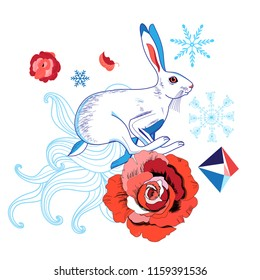Bright illustration of a white hare on a white background with roses