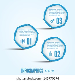 Bright infographic with blue circles and hexagons. Vector eps 10.