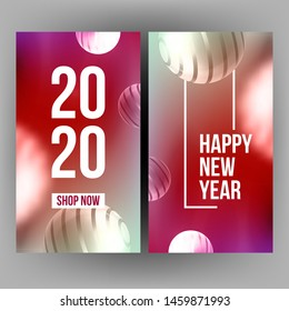 Bright Invitation Card Celebrating 2020 Vector. Realistic White Chrome Striped Sphere And Number 2020 Two Thousand Twenty On New Year Greeting-card. Creative Color Vertical Postcard 3d Illustration