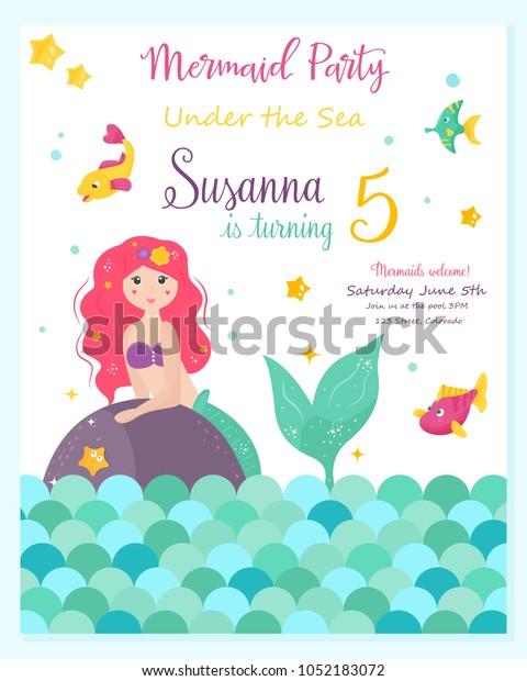 Bright Invitation Card Cute Fairy Mermaid Wektorowa