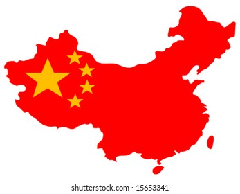 bright isolated vector illustration of Chinese flag on country map