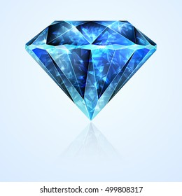 Bright jewelry faceted blue sapphire stone crystal