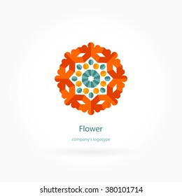 Bright, juicy beautiful circular logo for boutique, flower shop, business, interior. Company mark, emblem, element. Simple geometric mandala logotype. Kaleidoscope big bud. Surround abstract blossom.