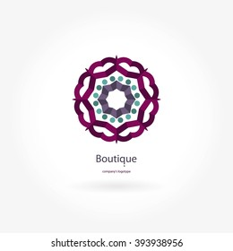 Bright, juicy beautiful circular logo for boutique, flower shop, business, interior. Company mark, emblem, element. Simple geometric mandala logotype. Kaleidoscope bud. Islam, Arabic, Indian, ottoman.