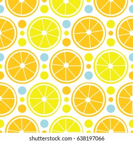 Bright juicy lemons, orange oranges and colorful circles. Seamless pattern. Excellent vector illustration for printing on fabric, clothing, wallpaper, wrapping paper and other surfaces.