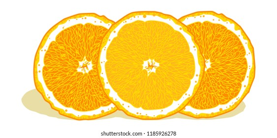 Bright, juicy oranges in a cut