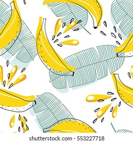 Bright and juicy seamless vector pattern with bananas