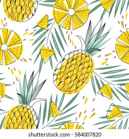 Bright and juicy seamless vector pattern with pineapples