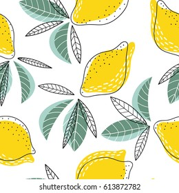 Bright and juicy seamless vector pattern with lemons