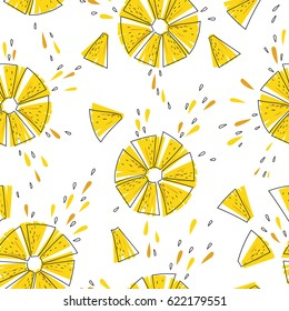 Bright and juicy  seamless vector pattern with pineapple slices
