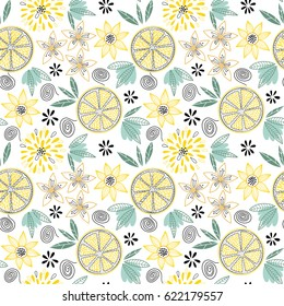 Bright and juicy seamless vector pattern with lemon slices