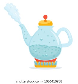 Bright kettle with boiling water. Cartoon vector