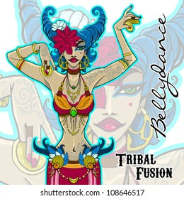 bright lady in the style of tribal fusion belly dance