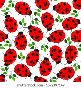 Bright ladybugs and green leaves: seamless pattern with transparent background. Vector graphics.