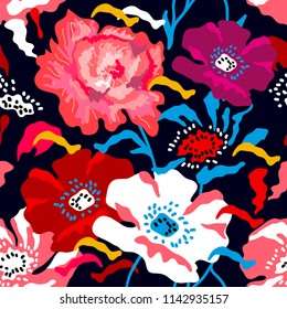 Bright large poppies and peonies on dark blue background. Seamless floral pattern with Spanish motifs. Trendy design for textile, cards and covers.