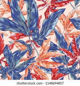 Bright Leaf Seamless Vector Jungle Pattern